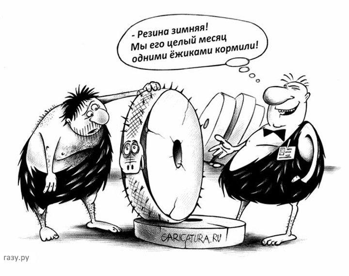 карикатура о зимней резине